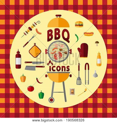 BBQ. Icon set for web and mobile application. Vector illustration on a Checkered pattern. Retro tablecloth texture. Flat design style.