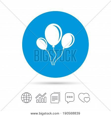 Balloon sign icon. Birthday air balloon with rope or ribbon symbol. Copy files, chat speech bubble and chart web icons. Vector