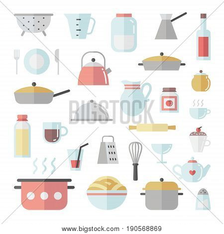 Crockery and cooking cute flat icon square vector set.