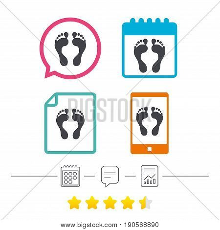 Human footprint sign icon. Barefoot symbol. Foot silhouette. Calendar, chat speech bubble and report linear icons. Star vote ranking. Vector
