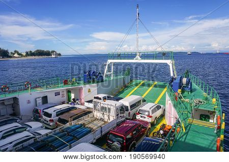 Labuan,Malaysia-May 26,2017:Ferry with vehicles on board carries passengers & vehicles from Labuan island to Sabah.This is the economical transportation to the Labuan Pearl of Borneo
