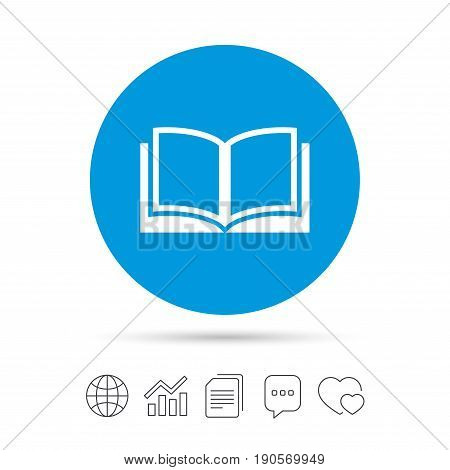 Book sign icon. Open book symbol. Copy files, chat speech bubble and chart web icons. Vector