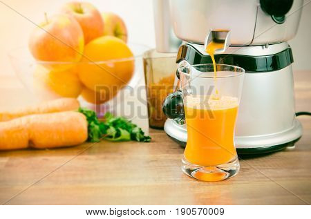 Juicer Prepares Fresh And Healthy Juice
