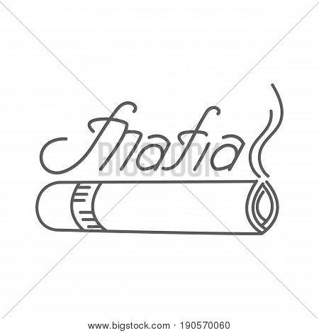 A hand-written inscription of a mafia with a smoking cigarette. Vector logo.