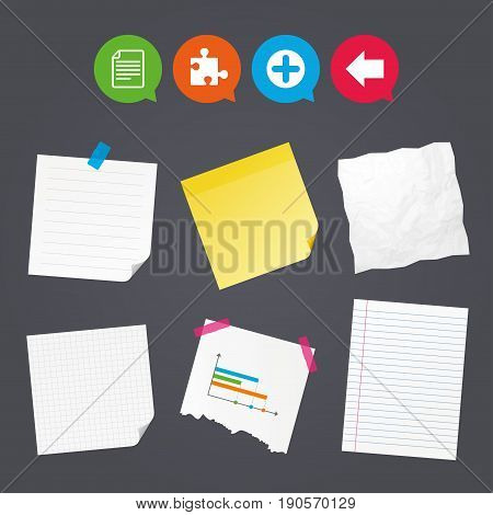 Business paper banners with notes. Plus add circle and puzzle piece icons. Document file and back arrow sign symbols. Sticky colorful tape. Speech bubbles with icons. Vector