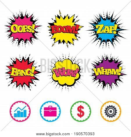 Comic Wow, Oops, Boom and Wham sound effects. Business icons. Graph chart and case signs. Dollar currency and gear cogwheel symbols. Zap speech bubbles in pop art. Vector