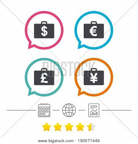 Businessman case icons. Cash money diplomat signs. Dollar, euro and pound symbols. Calendar, internet globe and report linear icons. Star vote ranking. Vector
