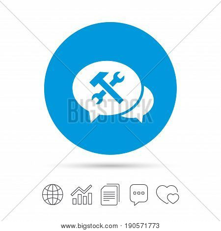 Speech bubble repair tool sign icon. Service symbol. Hammer with wrench. Copy files, chat speech bubble and chart web icons. Vector