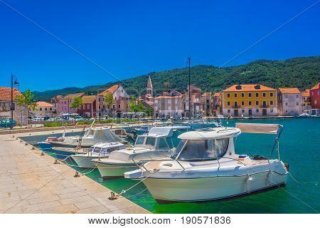 Mediterranean summer scenery at Island Hvar, croatian travel places, Europe.