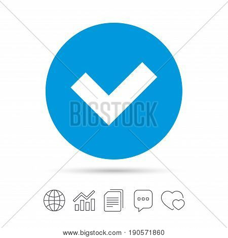 Check sign icon. Yes button. Copy files, chat speech bubble and chart web icons. Vector