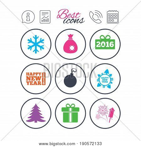 Information, report and calendar signs. Christmas, new year icons. Gift box, fireworks and snowflake signs. Santa bag, salut and decoration ball symbols. Phone call symbol. Vector