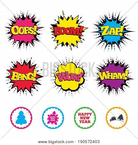 Comic Wow, Oops, Boom and Wham sound effects. Happy new year icon. Christmas trees signs. World globe symbol. Zap speech bubbles in pop art. Vector