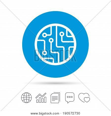 Circuit board sign icon. Technology scheme circle symbol. Copy files, chat speech bubble and chart web icons. Vector