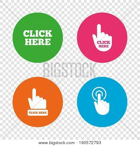 Click here icons. Hand cursor signs. Press here symbols. Round buttons on transparent background. Vector