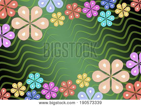 Colorful flower ornament on green wavy background mirror diagonal floral patterns suitable for invitation garden party birthday billboard EPS10 vector