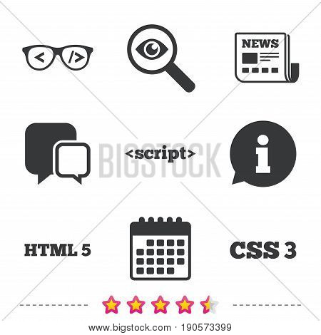 Programmer coder glasses icon. HTML5 markup language and CSS3 cascading style sheets sign symbols. Newspaper, information and calendar icons. Investigate magnifier, chat symbol. Vector