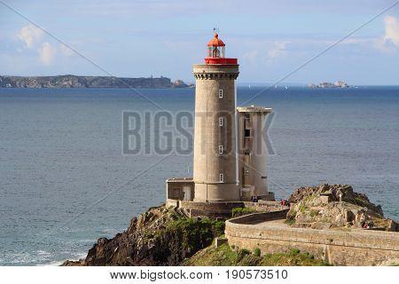 Petit Minou lighthouse and sea in Plouzane