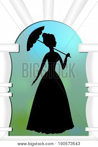 Lady with umbrella in gate a silhouette on blur green and blue background