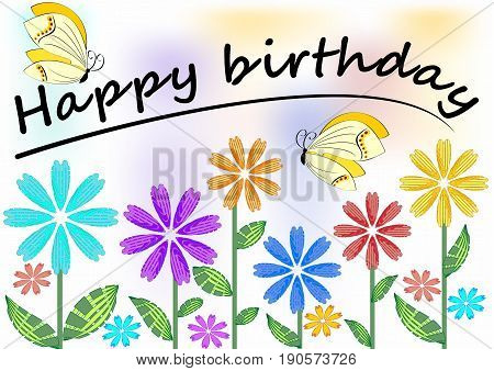 Happy birthday poster with colorful flowers and butterflies eps 10 vector