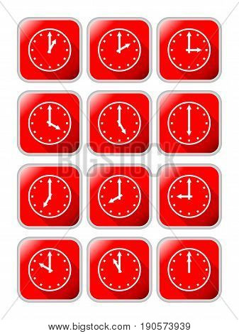 Clock icons with different time on red background with metallic frame EPS10 vector