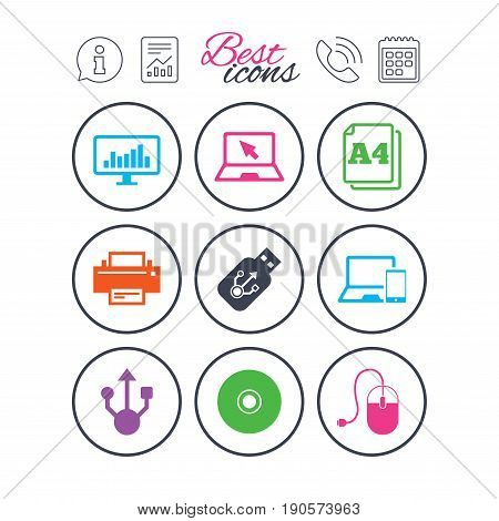 Information, report and calendar signs. Computer devices icons. Printer, laptop signs. Smartphone, monitor and usb symbols. Phone call symbol. Classic simple flat web icons. Vector