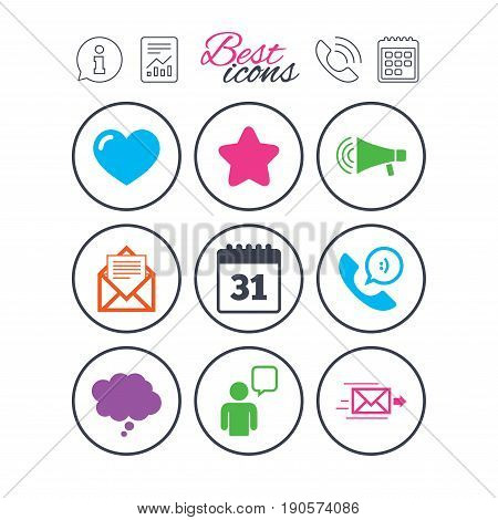 Information, report and calendar signs. Mail, contact icons. Favorite, like and calendar signs. E-mail, chat message and phone call symbols. Phone call symbol. Classic simple flat web icons. Vector