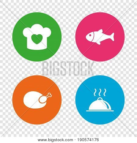 Chief hat with heart and cooking pan icons. Fish and chicken signs. Hot food platter serving symbol. Round buttons on transparent background. Vector