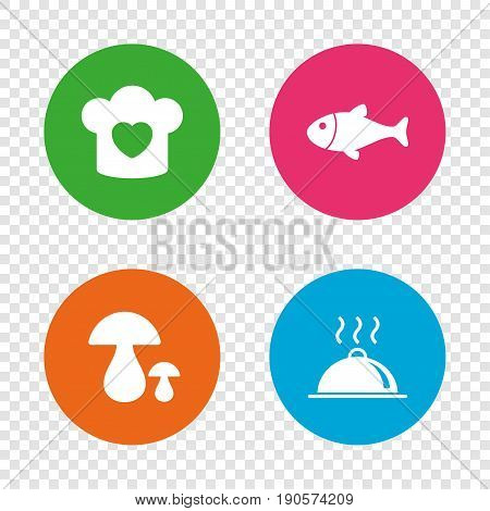 Chief hat with heart and cooking pan icons. Fish and boletus mushrooms signs. Hot food platter serving symbol. Round buttons on transparent background. Vector
