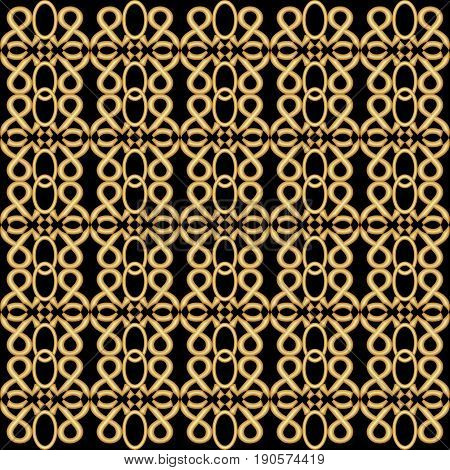 Golden grid in antique design. Symmetric vintage golden patterns on black background. Nostalgic art deco style.