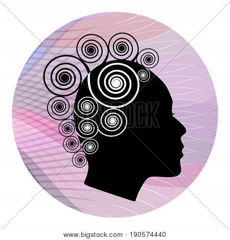 Woman head profile with extravagant spiral hairstyle on pink wavy background. Black and white stylization. Female face profile silhouette. Emblem for boutique or fashion salon.