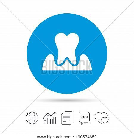 Parodontosis tooth icon. Gingivitis sign. Inflammation of gums symbol. Copy files, chat speech bubble and chart web icons. Vector