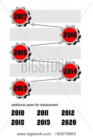 Timeline with gears and arrows. Empty frames for own text. alternative years caption for change. Infographic template for business presentation marketing internet. EPS10 vector.