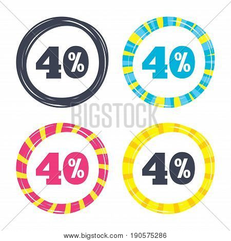 40 percent discount sign icon. Sale symbol. Special offer label. Colored buttons with icons. Poker chip concept. Vector