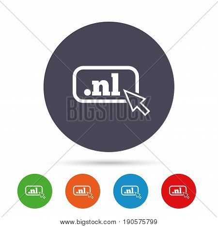 Domain NL sign icon. Top-level internet domain symbol with cursor pointer. Round colourful buttons with flat icons. Vector