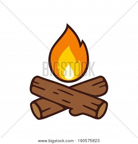 Campfire vector icon illustration isolated on white. Crossed logs and fire flame in cartoon style.