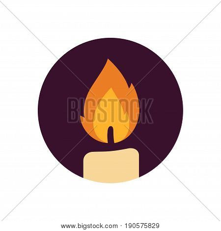 Candle flame vector logo. Flat design icon.