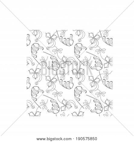 Seamless floral monochrome pattern, stock vector illustration for fabric print, for wrapping paper