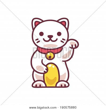 Cute cartoon Maneki Neko Japanese lucky cat. Adorable vector drawing of good luck Feng Shui kitty.