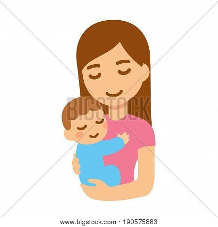 Cute cartoon mother and baby embrace. Young woman holding child. Isolated vector illustration.