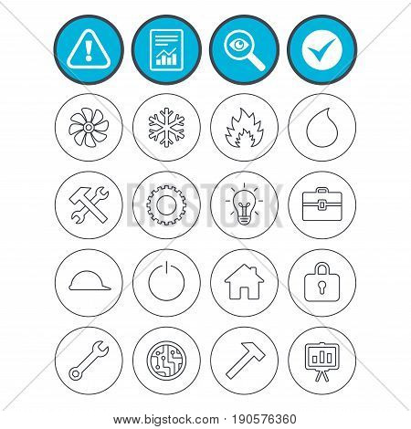 Report, check tick and attention signs. Engineering icons. Ventilation, heat and air conditioning symbols. Water supply, repair service and circuit board thin outline signs. Lamp, house and locker
