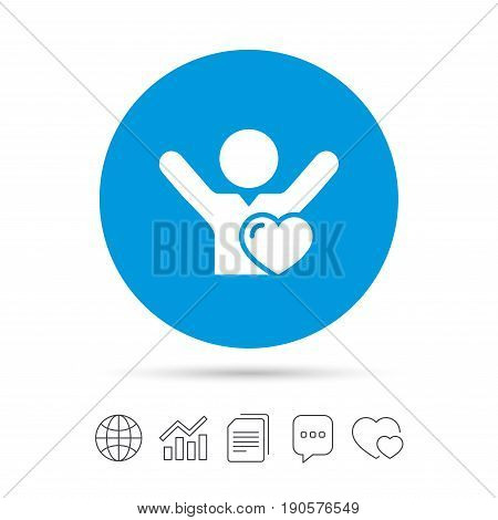 Fans love icon. Man raised hands up sign. Copy files, chat speech bubble and chart web icons. Vector