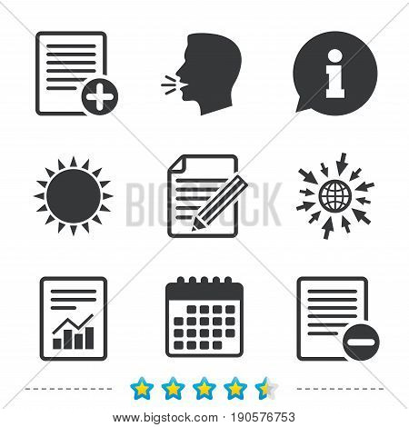 File document icons. Document with chart or graph symbol. Edit content with pencil sign. Add file. Information, go to web and calendar icons. Sun and loud speak symbol. Vector