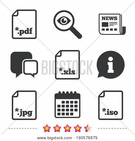 Download document icons. File extensions symbols. PDF, XLS, JPG and ISO virtual drive signs. Newspaper, information and calendar icons. Investigate magnifier, chat symbol. Vector