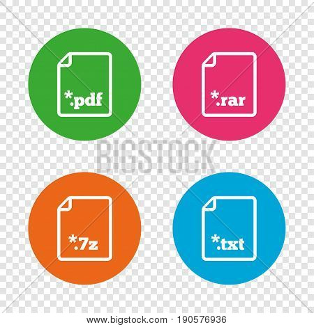 Download document icons. File extensions symbols. PDF, RAR, 7z and TXT signs. Round buttons on transparent background. Vector
