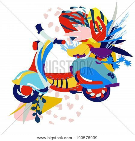 Motor scooter doodle in nice sixties style.Modern paper collage with flowers.