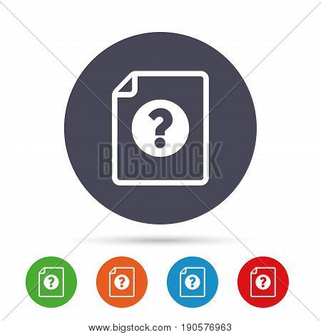 File document help icon. Question mark symbol. Round colourful buttons with flat icons. Vector