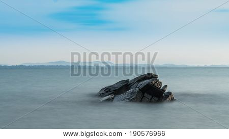 Craggy rocks in the sea at Samed Island in thailand