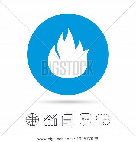 Fire flame sign icon. Fire symbol. Stop fire. Escape from fire. Copy files, chat speech bubble and chart web icons. Vector