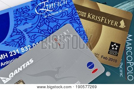 BRISBANE, AUSTRALIA - JUNE 3, 2017: Illustrative editorial collage showing a number of frequent flyer cards from major world airlines