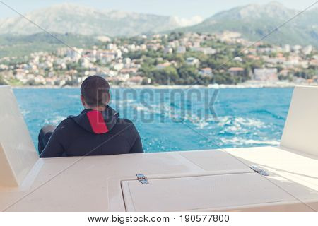 Scuba diver on diving boat. Scuba diver on diving boat